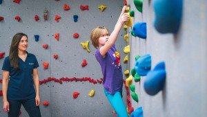 Focused on the climbing wall